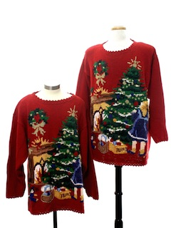1980's Unisex Matching Set of Two Ugly Christmas Sweaters