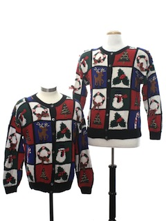 1990's Womens Matching Pair of Two Ugly Christmas Sweaters