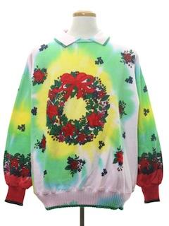 1980's Unisex Vintage Hand Embellished Tie-Dyed Ugly Christmas Sweatshirt