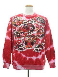 1990's Unisex Hand Embellished Tie-Dyed Ugly Christmas Sweatshirt