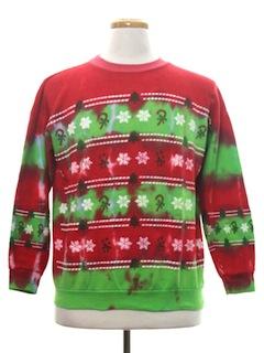 1980's Unisex Hand Tie-Dyed Ugly Christmas Sweatshirt
