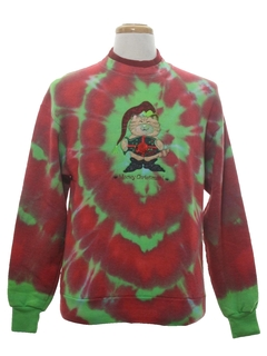 1990's Unisex Hand Tie-Dyed Cat-Tastic Ugly Christmas Sweatshirt
