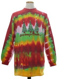 1990's Unisex Hand Tie-Dyed Ugly Christmas Sweatshirt