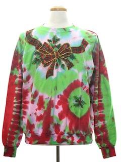 1990's Unisex Vintage Hand Embellished Tie-Dyed Ugly Christmas Sweatshirt