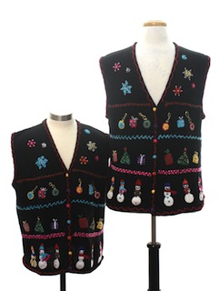 1990's Unisex Matching Pair of Two Ugly Christmas Sweater Vests