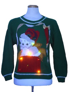 1990's Womens Vintage Multicolor Lightup Cat-Tastic Ugly Christmas Sweater