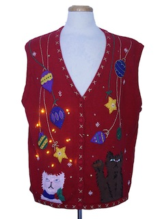 1980's Unisex Amber Lightup Cat-Tastic Ugly Christmas Sweater Vest