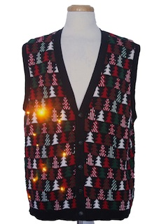 1980's Unisex Amber Lightup Ugly Christmas Sweater Vest