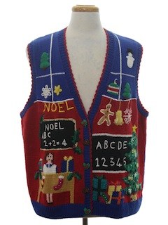 1980's Unisex Vintage Ugly Christmas Sweater Teachers Vest