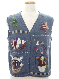 1980's Womens Patriotic Country Kitsch Ugly Christmas Sweater Vest