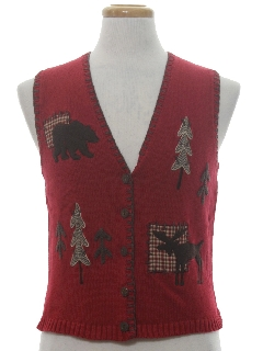 1980's Womens or Girls Country Kitsch Ugly Christmas Sweater Vest
