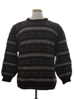 1970's Mens Wool Snowflake Ski Sweater