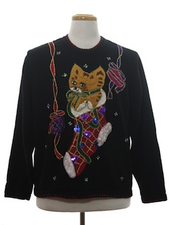 1980's Unisex Cat-Tastic Ugly Christmas Sweater