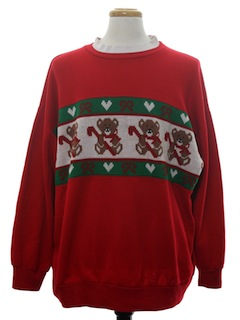 1980's Unisex Vintage Bear-riffic Ugly Christmas Sweater Look Sweatshirt