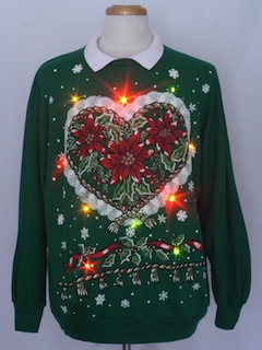 1980's Unisex Country Kitsch Multicolor Lightup Ugly Christmas Sweatshirt