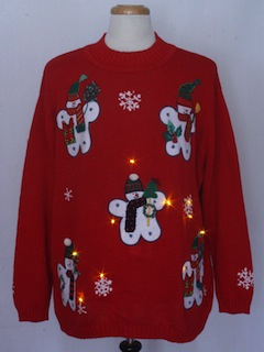 1980's Unisex Amber Lightup Ugly Christmas Sweater
