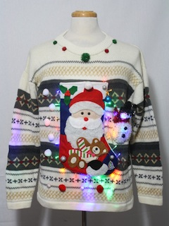 1980's Mens Multicolor Lightup Ugly Christmas Sweater