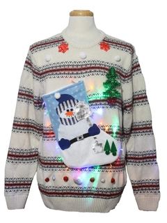 1980's Mens Hand Embellished Multicolor Lightup Ugly Christmas Sweater