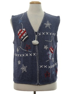 1990's Womens Patriotic Ugly Christmas Sweater Vest
