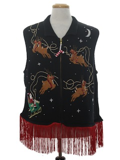 1990's Unisex Hand Embellished Ugly Christmas Sweater Vest