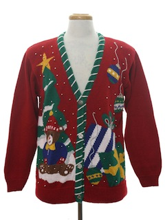 1990's Unisex Bear-riffic Ugly Christmas Cardigan Sweater