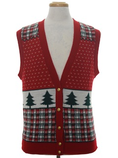 1980's Unisex Vintage Ugly Christmas Sweater Vest