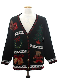 1980's Unisex Vintage Bear-riffic Ugly Christmas Cardigan Sweater