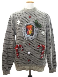 1980's Mens Hand Embellished Ugly Christmas Sweater