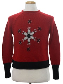 1980's Womens or Girls Mod Minimalist Ugly Christmas Sweater
