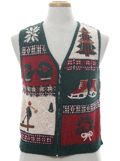 1980's Womens Country Kitsch Ugly Christmas Sweater Vest