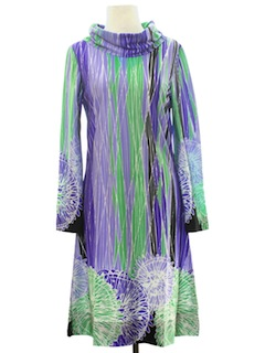 1970's Womens Psychedelic Mod Knit Dress