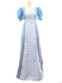 1970's Womens Prairie Hippie Maxi Dress
