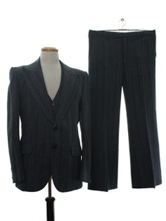 1970's Mens Fine Wool Three Piece Disco Suit
