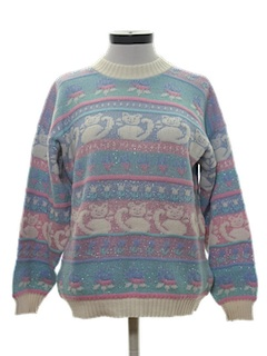 1980's Womens Totally 80s Cheesy Cat Design Pullover Sweater