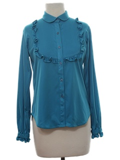 1980's Womens Solid Ruffled Secretary Shirt