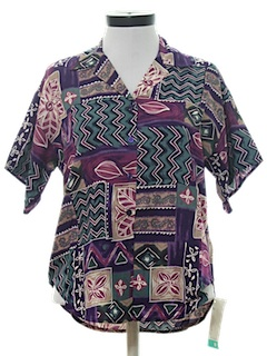 1980's Womens Totally 80s Hawaiian Style Sport Shirt