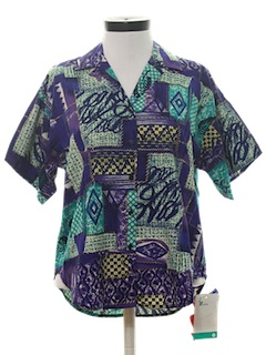 1980's Womens Totally 80s Print Sport Shirt