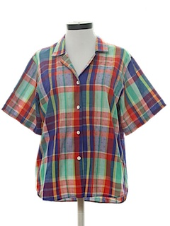 1980's Womens Plaid Sport Shirt