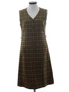 1960's Womens Mod Pendleton Wool Jumper Dress