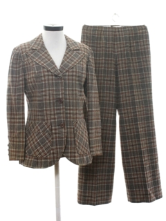 1970's Womens Mod Plaid Wool Three Piece Suit