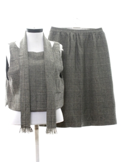 1960's Womens Mod Wool Two Piece Skirt Suit