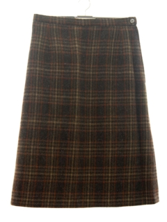 1960's Womens Mod Plaid Wool Skirt