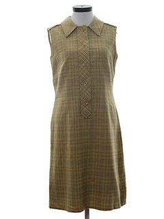 1970's Womens Mod Plaid Wool Pendleton Jumper Dress
