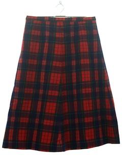 1970's Womens Mod Pendleton Plaid Wool Skirt