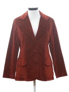 1970's Womens Velveteen Blazer Sport Coat Jacket