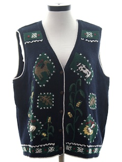 1990's Womens Cheesy Ugly Farm Themed Sweater Vest