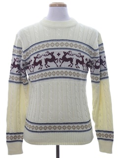 1980's Mens Reindeer Ski Sweater