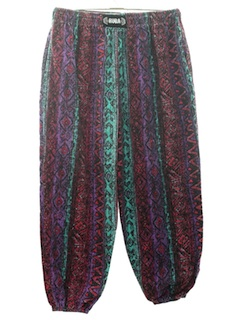 1980's Mens Totally 80s Corduroy Baggy Print Pants