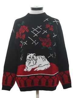 1980's Womens Totally 80s Crazy Cat Lady Sweater