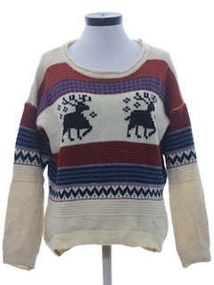 1990's Womens Reindeer Print Ski Sweater